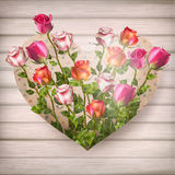 Steg blommor i hjärtaform 10 eps Arkivbilder