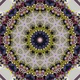 Steg cirkelmandalaen i djupblått och ljust - guling och vit arkivbilder
