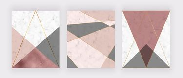 Steg den geometriska designen för marmor med rosa och grått triangulärt, textur för guld- folie, polygonal linjer Modern bakgrund royaltyfri illustrationer