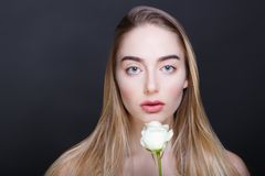 steg den vita kvinnan Royaltyfria Bilder
