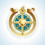 steg det guld- bandet för kompassjordklotet Royaltyfri Bild