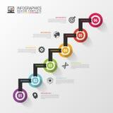 Steg-för-steg alternativ för modern affär Infographic designmall också vektor för coreldrawillustration Arkivbilder