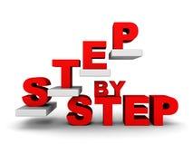STEG-FÖR-STEG begrepp med den abstrakta trappuppgången Arkivbild