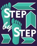 Steg-för-steg designbeståndsdel för workflowpresentationen med grönt fotspår och pilar Royaltyfri Bild