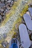 Steg-för-steg stenväg Arkivbilder