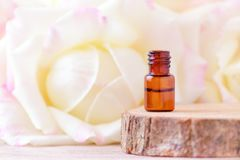 Steg nödvändig olja i en glasflaska med nytt steg blommor Royaltyfri Foto