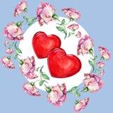 Steg och hjärta, vattenfärg Fotografering för Bildbyråer