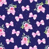 Steg sömlös vektorbakgrund för marinen med rosa färgpilbågar, blommor och Royaltyfri Fotografi