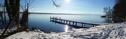 Steg an See. See Lake munich tuzing Royalty Free Stock Photo