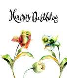 Steg tulpan, och pingstliljan blommar med med lycklig födelsedag för titel royaltyfri illustrationer