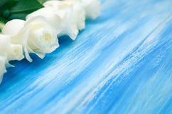 steg white En bukett av delikata rosor på en träblå bakgrund Ställe för text, närbild Romantisk bakgrund för vår fotografering för bildbyråer
