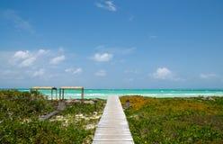 Steg zum tropischen Strand Stockfotos