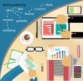 Stegar den stilfulla vektorillustrationen för den plana designen av den rutinmässiga organisationen av moderna affärsarbeten i ko Arkivbild