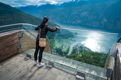 Stegastein Lookout Beautiful Nature Norway observation deck view. Stegastein Lookout observation deck view point Beautiful Nature Norway royalty free stock images