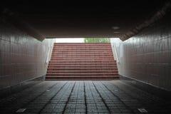Stege av den underjordiska passagen som leder till överkanten Royaltyfria Bilder