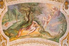 """Stege för Rome - Jacob ` s av Antonio Viviani 1560†""""1620 Freskomålning från valvet av trappa i kyrkliga Chiesa di San Lorenzo i Arkivfoto"""