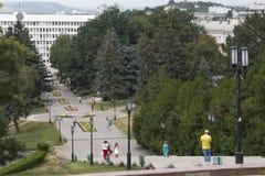 Stege till en Lenin fyrkant i Pyatigorsk, Ryssland Royaltyfria Bilder