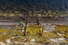 Stege till kanalen med rent vatten Nedstigning till en konkret dräneringkanal arkivfoto