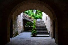 Stegen van de Oude Stad van Rhodes Island, Griekenland, Europa Stock Fotografie