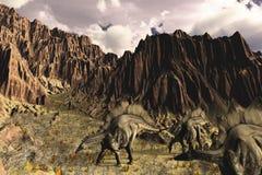 Stegosaurus Afternoon. A late Jurassic prehistoric scene with Stegosaurus dinosaurs - 3D render Stock Photography