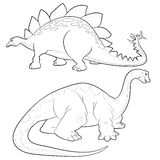 Stegosaurus-apatosaurus lineart. Cute Dinosaurs  cartoon stegosaurus and apatosaurus lineart actions Royalty Free Stock Photo