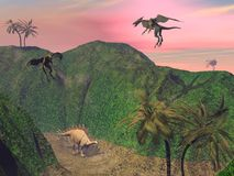 Stegosaurus attacked Stock Image