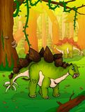 Stegosaurus on the background of forest. Vector illustration Stock Photography
