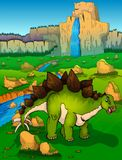 Stegosaurus on the background of nature. Vector illustration Royalty Free Stock Images