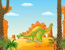 Stegosaurus bonito dos desenhos animados que levanta com fundo pré-histórico Imagem de Stock
