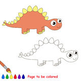 Stegosaurus cartoon. Page to be colored. Royalty Free Stock Image