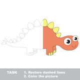 Stegosaurus cartoon. Page to be colored. Stegosaurus in vector colorful to be traced. Restore dashed line and color the picture. Visual game for children Stock Photography