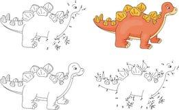 Stegosaurus del fumetto Libro da colorare e punto per punteggiare gioco per i bambini illustrazione vettoriale