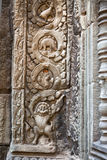 Stegosaurus dinosaur carving on the wall. In Ta Prohm temple, Siem Reap, Cambodia Royalty Free Stock Photo