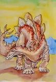 stegosaurus dinosaur Retrato Aquarela molhada de pintura no papel Arte ingénua Aquarela do desenho no papel ilustração royalty free