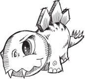 Stegosaurus-Dinosaurier-Skizze Lizenzfreies Stockbild