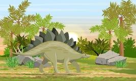 Stegosaurus en animales prehist?ricos y plantas del bosque prehist?rico stock de ilustración