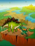 Stegosaurus en roofvogel met landschapsachtergrond stock illustratie