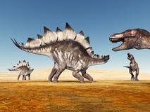 Stegosaurus en Tyrannosaurus Rex Stock Afbeeldingen