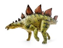 Stegosaurus, genus of armored dinosaur. E view, dinosaurs toy, isolated on white background with clipping path Royalty Free Stock Photos