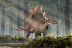 Stegosaurus i en skog stock illustrationer