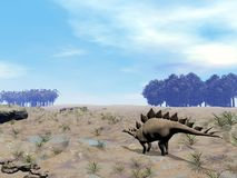 Stegosaurus looking for water Royalty Free Stock Photo
