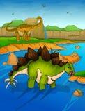 Stegosaurus op de rivierachtergrond Stock Afbeelding