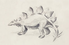 Stegosaurus pencil drawing on old paper, Original hand draw. Stock Image