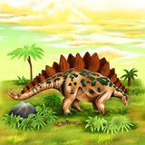 Stegosaurus Prehistoric Animal Digital Illustration. For any purpose such as Children Book cover and illustration, wallpaper, home decor, print on calendar, bag Royalty Free Stock Images