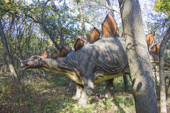 Stegosaurus. Sculpture in live size. Dinopark in Krasnodar, Russia Stock Images
