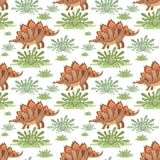 Stegosaurus seamless pattern. Colorful seamless pattern with the image of funny dinosaurs in cartoon style. Vector background Stock Photos