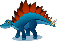 Stegosaurus. Smiling blue and brown side standing posture Stegosaurus  illustration Stock Photos