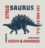 Stegosaurus t-shirt design, print, typography, label. Stock Photography