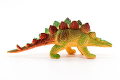 Stegosaurus toy model on white background. Closeup Stock Images