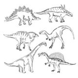 Stegosaurus, triceratops tyrannosaurus and other dinosaur types. Vector hand drawn pictures isolate Stock Image